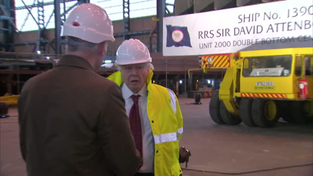 interior shots of sir david attenborough speaking to reporters at the cammell laird construction yard where the rrs sir david attenborough will be... - kiel rumpf stock-videos und b-roll-filmmaterial