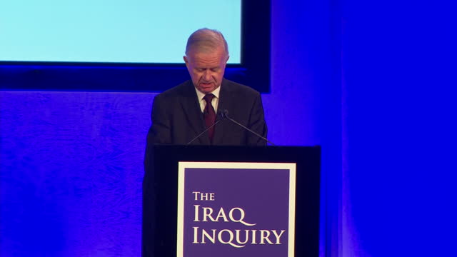 interior shots of sir john chilcot reading from his report on saddam's alleged weapons of mass destruction on july 06, 2016 in london, england. - weapons of mass destruction stock videos & royalty-free footage