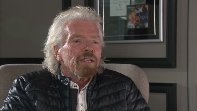 interior shots of sir richard branson being interviewed on how plastic waste is harming the environment on january 21, 2017 in london, england. - fame stock videos & royalty-free footage