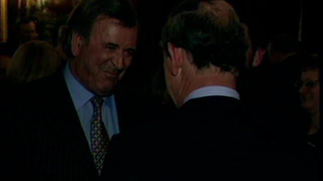 interior shots of sir terry wogan and prince charles chatting at a reception the the archers radio programme on febuary 27 2001 in london united... - terry wogan video stock e b–roll