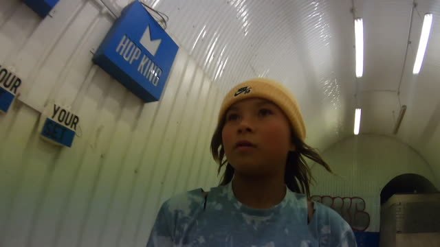 interior shots of sky brown part of the team gb tokyo 2020 olympics squad at training with a gopro headset on shot at hop kingdom in london on... - performing tricks stock videos & royalty-free footage