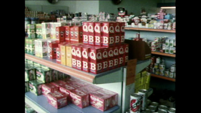 interior shots of small supermarket in devon; 1981 - customer stock videos & royalty-free footage