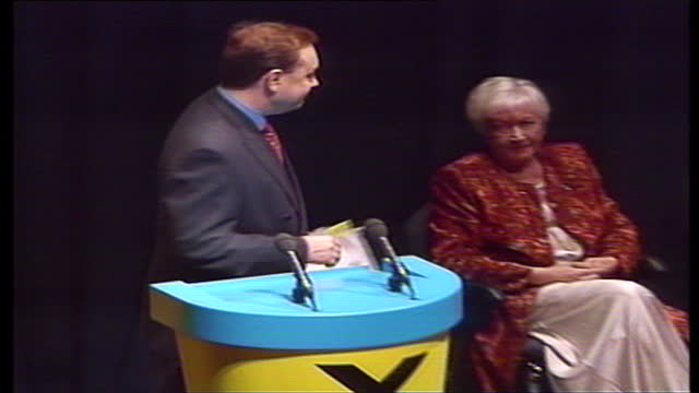 interior shots of snp leader alex salmond addressing an audience at an snp conference ahead of the first scottish parliament election on may 12 1999... - alex salmond stock videos & royalty-free footage
