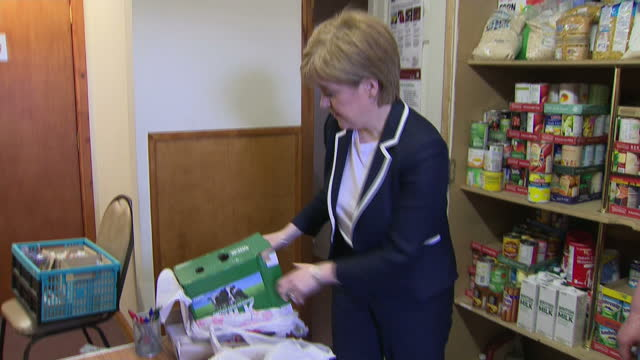 interior shots of snp leader nicola sturgeon visiting a food bank on 12 may 2017 in inverness, united kingdom - inverness scotland stock videos & royalty-free footage