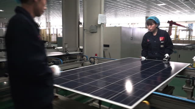 Interior shots of solar panels being manufactured in a factory in Baoding on December 01 2015 in Baoding China