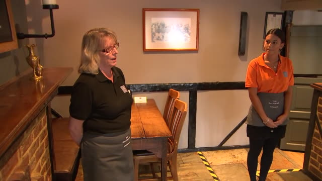 interior shots of sophie countess of wessex visiting her local pub the half moon and talking to the landlord and staff on 8 july 2020 in windlesham... - half moon stock videos & royalty-free footage