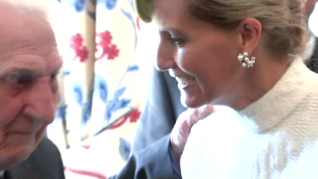 interior shots of sophie duchess of wessex speaking to guests at raf club during event to mark the 75th anniversary of the battle of britain on july... - 75th anniversary stock videos & royalty-free footage