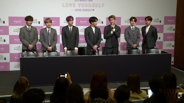 interior shots of southkorean boy band bts sat for press conference on 01 june 2019 in london united kingdom - boy band stock videos & royalty-free footage
