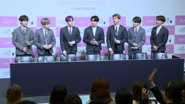 interior shots of southkorean pop boy band bts sat for press conference ahead of performing at wembley stadium on 01 june 2019 in london united... - boy band stock videos & royalty-free footage