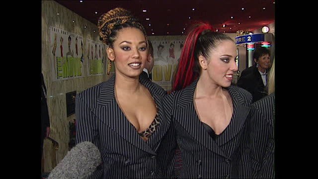 """interior shots of spice girls group arriving for spice girls movie premiere """"spice world"""" on 15 december 1997 in london, united kingdom - angus deayton stock videos & royalty-free footage"""