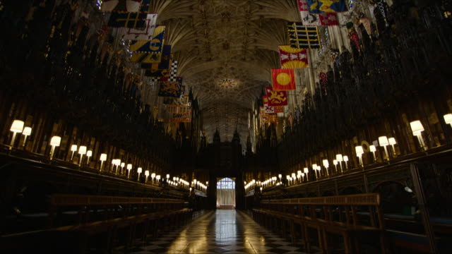 interior shots of st george's chapel including shots of the church architecture and the church aisle on 11th february 2018 in windsor castle windsor... - chapel stock videos & royalty-free footage