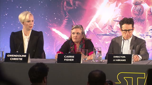 Interior shots of Star Wars cast crew walking into press conference on December 17 2015 in London England