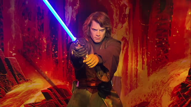 interior shots of star wars figures on display in madame tussauds including qui gon jinn obi wan kenobi darth maul luke skywalker princess leia jabba... - madame tussauds stock videos & royalty-free footage