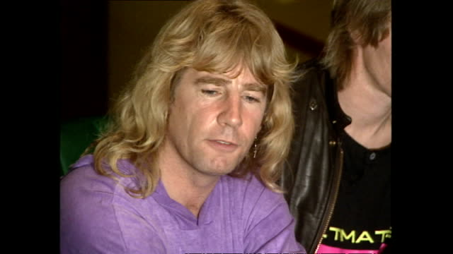 interior shots of status quo's rick parfitt giving a press interview about starting out working in butlins on october 11 1990 in minehead somerset... - minehead stock videos & royalty-free footage