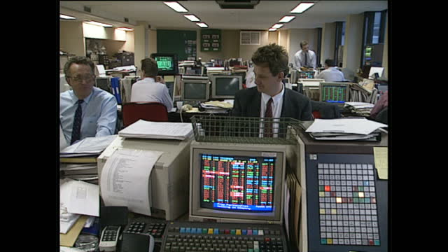 interior shots of stock market traders working at desks on the trading floor at anz, australia and new zealand banking group limited, some employees... - desktop pc stock videos & royalty-free footage