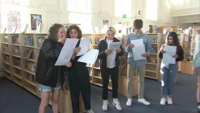 interior shots of students opening gcse exam results in a school library on 20 august 2020 in london, united kingdom - general certificate of secondary education stock videos & royalty-free footage