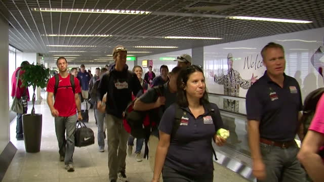 interior shots of team usa athletes coaches officials arrive at heathrow airport sky news 2012 olympics coverage at heathrow airport on june 12 2012... - united states national team stock videos & royalty-free footage