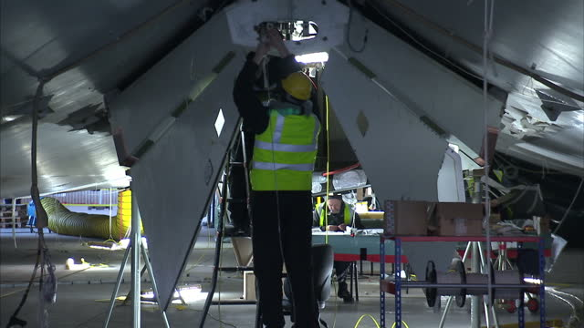 Interior shots of technicians and engineers working on the HAV3 Airlander blimp inside hanger on March 06 2016 in Bedford England