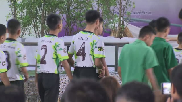 interior shots of the 12 boys rescued from a flooded cave and thai navy seals holding media press conference on july 17, 2018 in chiang rai, thailand. - thailand stock videos & royalty-free footage