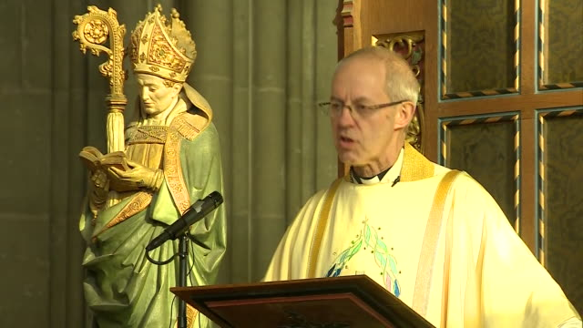 interior shots of the archbishop of canterbury justin welby giving speech during the christmas day sung eucharist at canterbury cathedral on december... - archbishop of canterbury stock videos & royalty-free footage