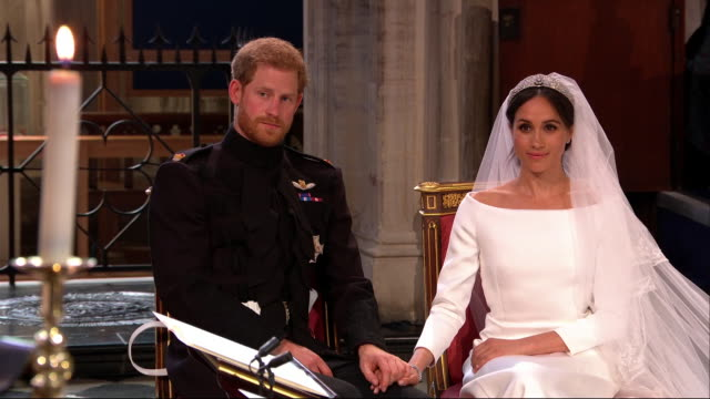 vídeos de stock, filmes e b-roll de interior shots of the bishop michael curry's speech from the royal wedding of prince harry and meghan markle with cutaways to the royal couple and... - realeza