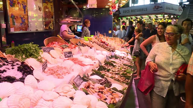 interior shots of the bustling mercat de la boqueria in barcelona including shots of customers browsing stalls selling cured hams seafood and fruit... - seafood stock videos and b-roll footage