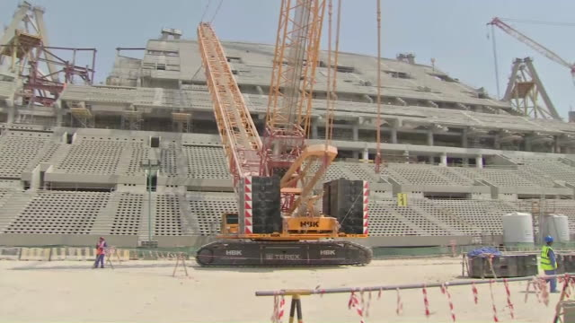 interior shots of the construction of the lusail stadium, to be used for the 2022 fifa world cup on 10th october 2019 in doha, qatar - fifa stock videos & royalty-free footage