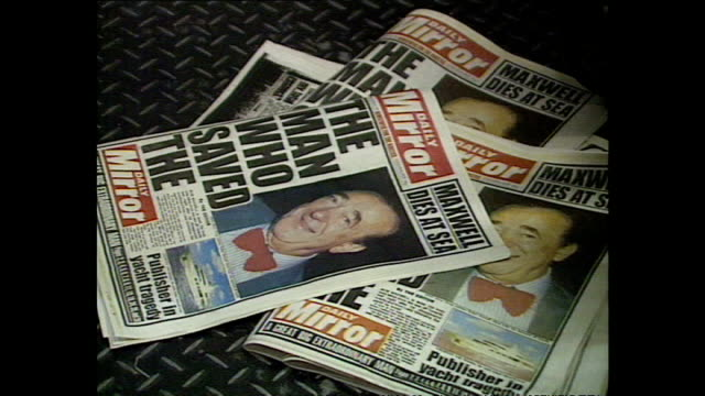 interior shots of the daily mirror printing press on the day that proprietor robert maxwell died with the front page headline reading 'the man who... - robert maxwell stock videos and b-roll footage