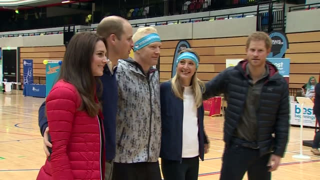 Interior shots of the Duke and Duchess of Cambridge and Prince Harry posing for photographs with Paula Radcliffe and Iwan Thomas during a Team Heads...
