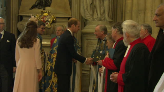 interior shots of the duke and duchess of cambridge arriving at westminster abbey and greeting members of the clergy and officials before a service... - religious service stock videos and b-roll footage