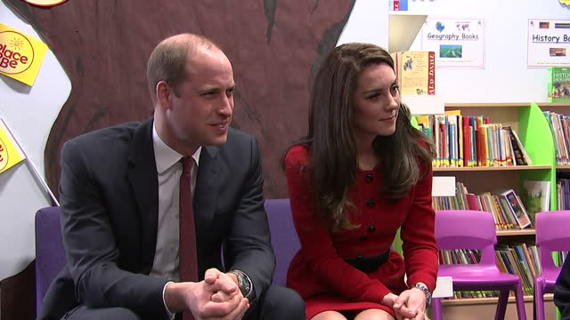 Interior shots of the Duke and Duchess of Cambridge listening to children's stories about kindness during events at Mitchell Brook Primary School to...