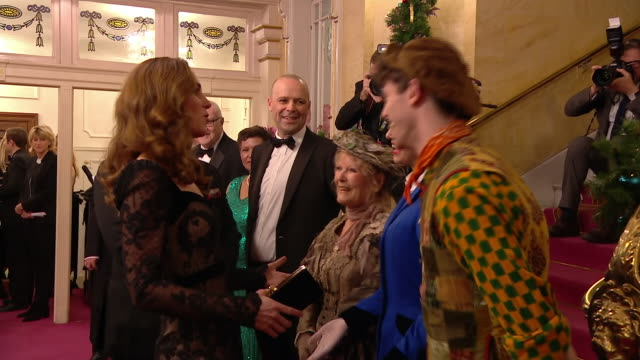 stockvideo's en b-roll-footage met interior shots of the duke and duchess of cambridge meeting the cast of mary poppins the royal variety performance at the palladium theatre on 18... - london palladium