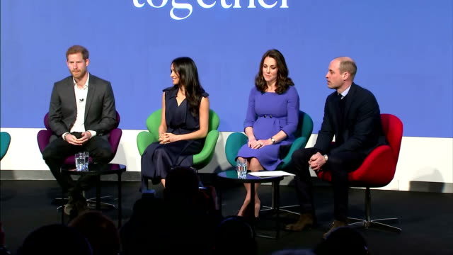 vidéos et rushes de interior shots of the duke and duchess of cambridge, prince harry and meghan markle walking on stage together and taking their seats at the first... - monarchie