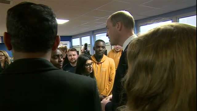 interior shots of the duke and duchess of cambridge speaking to young people staff and officials at the positive youth foundation before departing on... - coventry stock-videos und b-roll-filmmaterial
