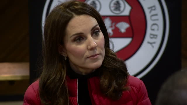 Interior shots of the Duke and Duchess of Cambridge visiting Aston Villa Football Club and meeting officials and coaches involved with the Coach Core...