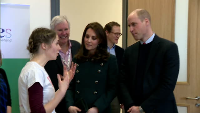 stockvideo's en b-roll-footage met interior shots of the duke and duchess of cambridge visiting the fire station arts and culture centre in sunderland and meeting representatives from... - arts culture and entertainment