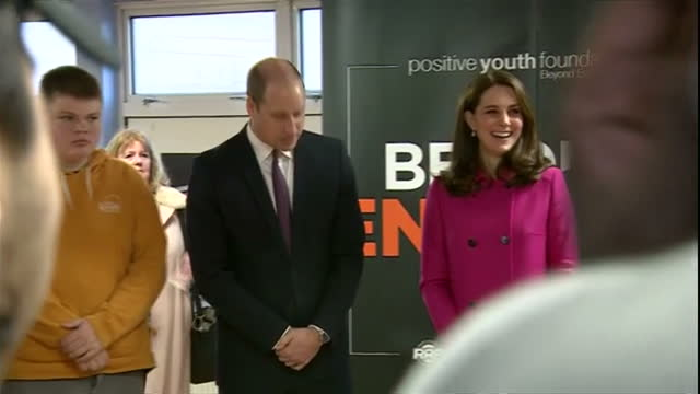 interior shots of the duke and duchess of cambridge visiting the positive youth foundation in coventry and meeting young people on january 16 2018 in... - coventry stock-videos und b-roll-filmmaterial
