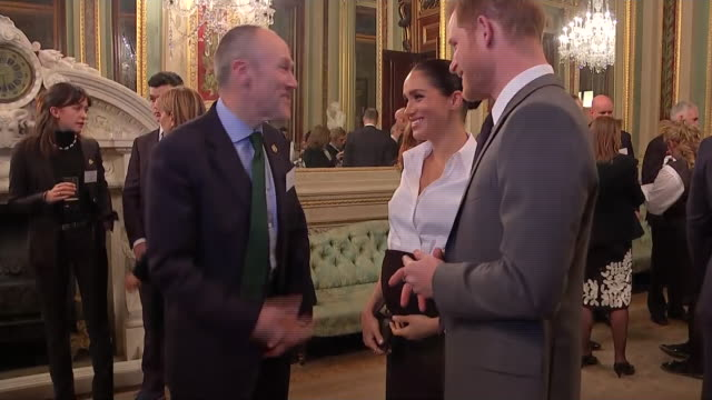 vídeos de stock e filmes b-roll de interior shots of the duke and duchess of sussex talking to guests at the endeavour fund awards 2019 at goldsmith's hall including close ups of the... - duke of sussex