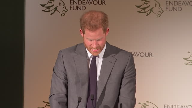 vídeos de stock e filmes b-roll de interior shots of the duke of sussex concluding his speech at the endeavour fund awards 2019 at goldsmith's hall on 7th february 2019 in london... - duke of sussex