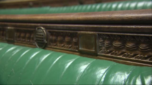 interior shots of the empty house of commons chamber with its green leather benches and wooden panneling on 11 march 2019 in london, united kingdom - house of commons stock videos & royalty-free footage