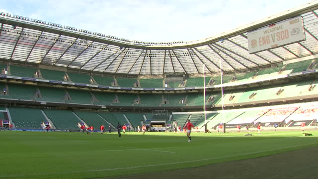 interior shots of the england rugby union team training at twickenham stadium ahead of their opening game of the six nations against scotland on 5th... - sports training stock videos & royalty-free footage