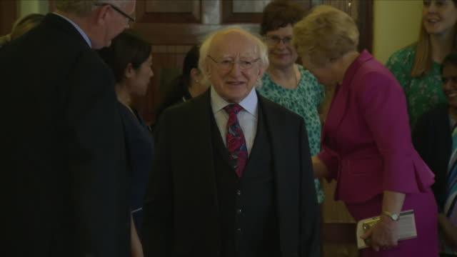 interior shots of the irish president michael d higgins and his wife sabina arriving at the polling station and shaking hands with various locals... - michael d. higgins stock videos and b-roll footage