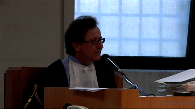 interior shots of the judge in the meredith kercher murder trial speaking in perugia courtroom on june 12, 2009 in perugia, italy. - perugia stock videos & royalty-free footage