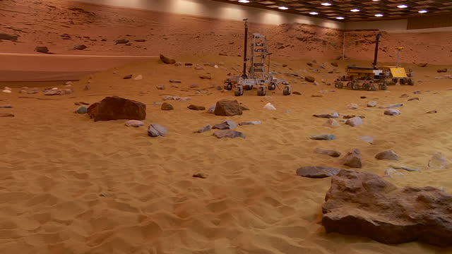 interior shots of the mars yard test area at airbus defence and space in stevenage showing the simulated martian landscape and various mars rover... - planet space stock videos & royalty-free footage