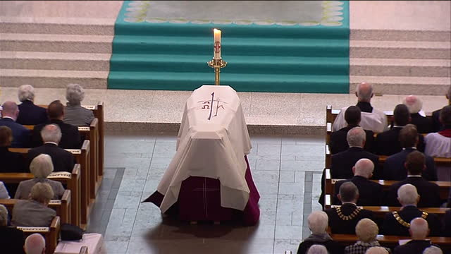 Interior shots of the Mass service being held fr Bishop Edward Daly's funeral at St Eugene's Cathedral on August 11 2016 in Londonderry Northern...