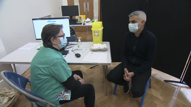 GBR: London Mayor Sadiq Khan receives coronavirus vaccination