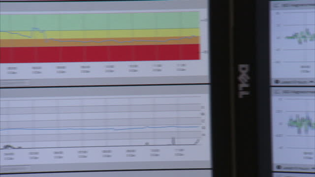 vídeos de stock, filmes e b-roll de interior shots of the met office supercomputer room and staff working at their desks monitoring weather patterns on october 8 2014 in exeter england - meteorologia