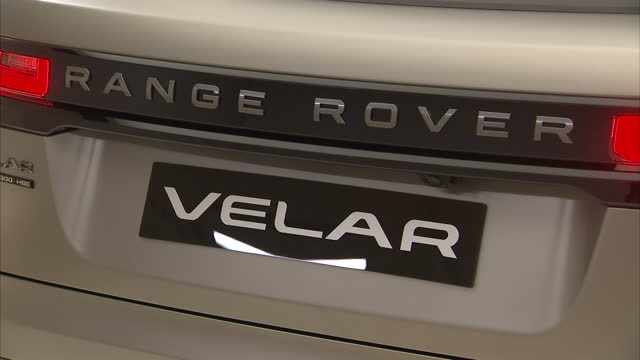 interior shots of the new range rover velar on display at the design museum, including shots of the driver's side door being opened and land rover... - land rover stock videos & royalty-free footage