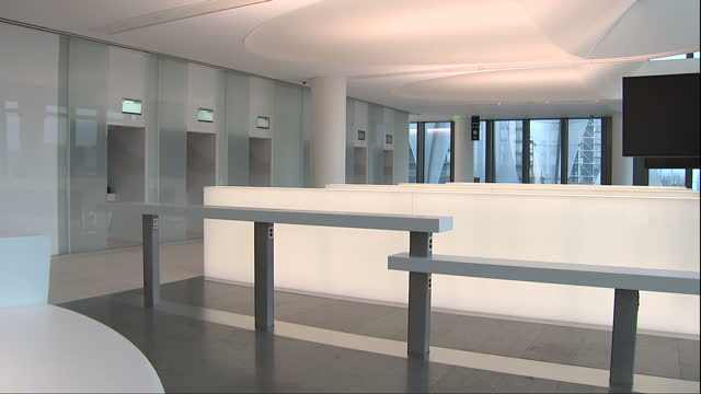 Interior shots of the new US embassy building in London including a reception and waiting area for Visa service desks and view from the windows...