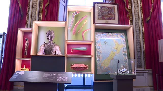 interior shots of the oceania section of the royal gifts exhibition on display in the state rooms at buckingham palace, including a bronze bust of... - oceania stock videos & royalty-free footage